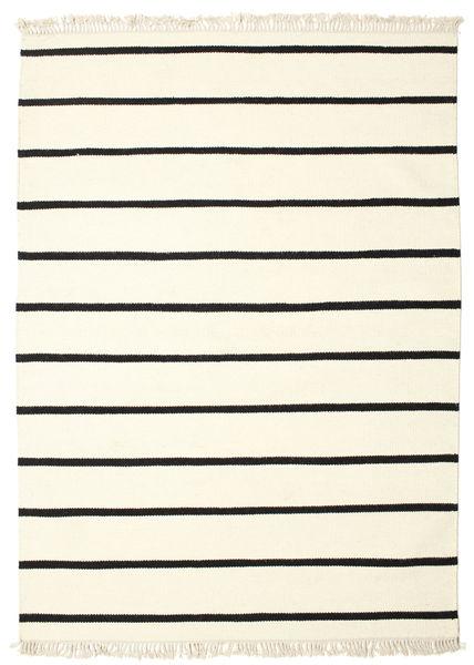 Dorri Stripe - Vit/Svart Teppe 140X200 Ekte Moderne Håndvevd Beige/Hvit/Creme (Ull, India)