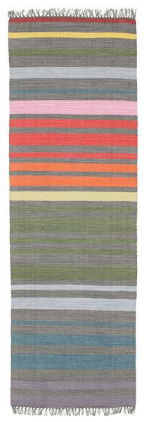 Rainbow Stripe - Grå Teppe 80X250 Ekte Moderne Håndvevd Teppeløpere Mørk Grå/Lys Grå (Bomull, India)