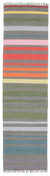 Rainbow Stripe - Grå Teppe 80X300 Ekte Moderne Håndvevd Teppeløpere Mørk Grå/Lys Grå (Bomull, India)