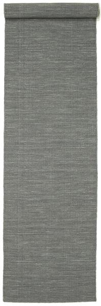 Kelim Loom - Mørk Grå Teppe 80X400 Ekte Moderne Håndvevd Teppeløpere Lys Grå/Mørk Grønn (Ull, India)