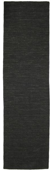 Kelim Loom - Svart Teppe 80X300 Ekte Moderne Håndvevd Teppeløpere Svart (Ull, India)