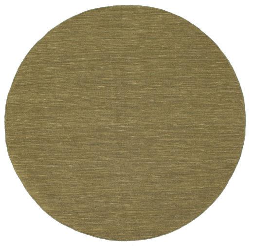 Kelim Loom - Oliven Teppe Ø 150 Ekte Moderne Håndvevd Rundt Olivengrønn (Ull, India)