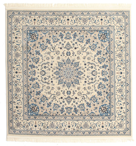 Nain Emilia - Cream/Lys Blå Teppe 150X150 Orientalsk Kvadratisk Lys Grå/Beige ( Tyrkia)