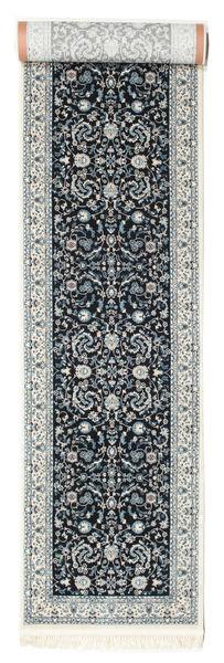 Nain Florentine - Mørk Blå Teppe 80X400 Orientalsk Teppeløpere Lys Grå/Mørk Grå ( Tyrkia)