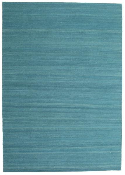 Kelim Loom - Petrol Blue Teppe 160X230 Ekte Moderne Håndvevd Blå/Turkis Blå (Ull, India)