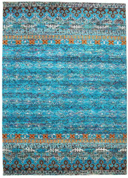 Quito - Turquoise Teppe 240X340 Ekte Moderne Håndknyttet Turkis Blå/Lys Grå (Silke, India)