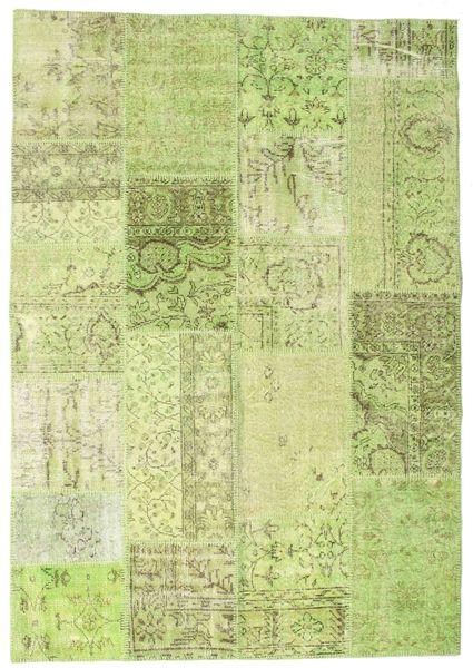 Patchwork Teppe 159X229 Ekte Moderne Håndknyttet Lysgrønn (Ull, Tyrkia)