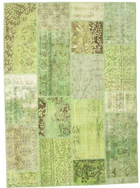Patchwork Teppe 161X224 Ekte Moderne Håndknyttet Lysgrønn (Ull, Tyrkia)