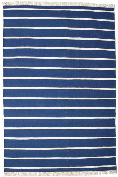 Dorri Stripe - Mørk Blå Teppe 220X320 Ekte Moderne Håndvevd Mørk Blå/Blå (Ull, India)