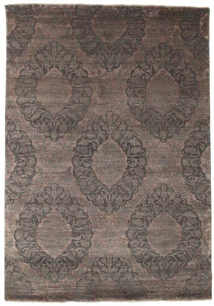 Damask Teppe 175X250 Ekte Moderne Håndknyttet Mørk Brun/Mørk Grå ( India)