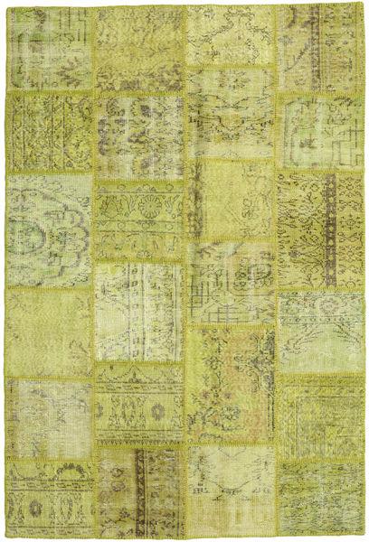 Patchwork Teppe 159X234 Ekte Moderne Håndknyttet Olivengrønn/Gul (Ull, Tyrkia)
