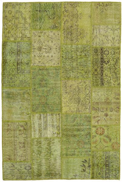 Patchwork Teppe 156X238 Ekte Moderne Håndknyttet Lysgrønn/Olivengrønn (Ull, Tyrkia)