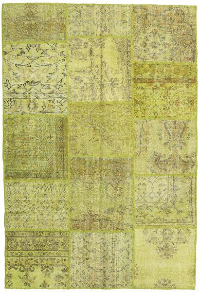 Patchwork Teppe 156X235 Ekte Moderne Håndknyttet Olivengrønn/Gul (Ull, Tyrkia)