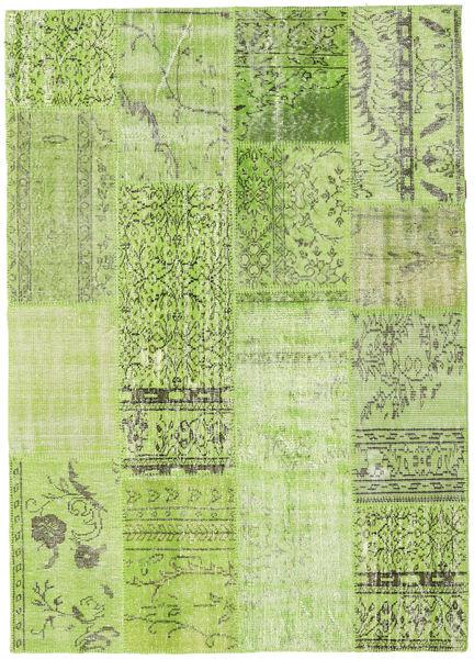 Patchwork Teppe 161X228 Ekte Moderne Håndknyttet Lysgrønn/Olivengrønn (Ull, Tyrkia)