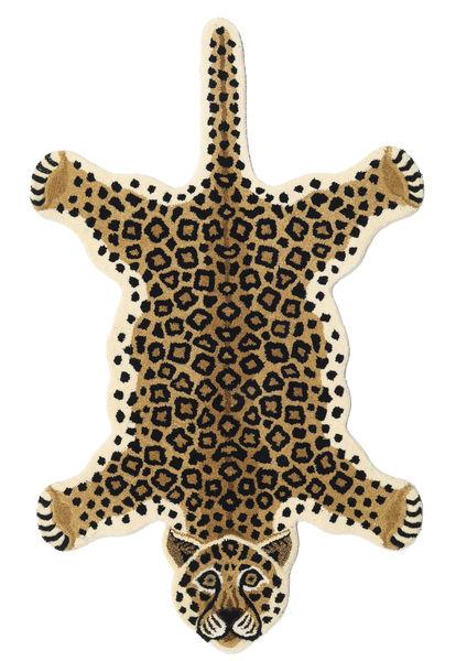 Leopard - Beige Teppe 100X160 Moderne Svart/Lysbrun/Beige (Ull, India)