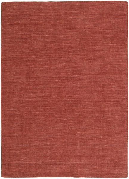 Kelim Loom - Rust Teppe 140X200 Ekte Moderne Håndvevd Mørk Rød (Ull, India)
