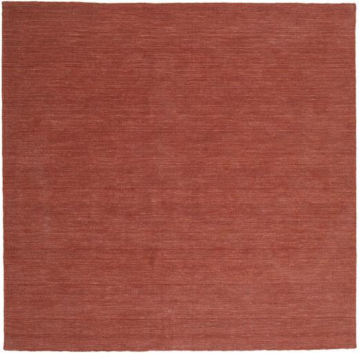 Kelim Loom - Rust Teppe 250X250 Ekte Moderne Håndvevd Kvadratisk Mørk Rød Stort (Ull, India)