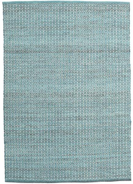 Alva - Turquoise/Vit Teppe 140X200 Ekte Moderne Håndvevd Lys Blå/Turkis Blå (Ull, India)