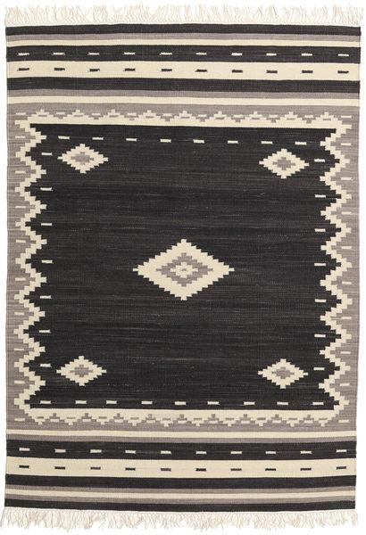 Tribal - Svart Teppe 160X230 Ekte Moderne Håndvevd Svart/Beige (Ull, India)