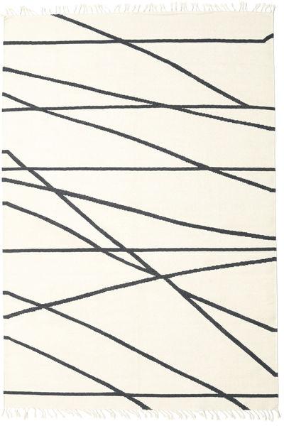 Cross Lines - Off White/Svart Teppe 250X350 Ekte Moderne Håndvevd Beige/Hvit/Creme Stort (Ull, India)