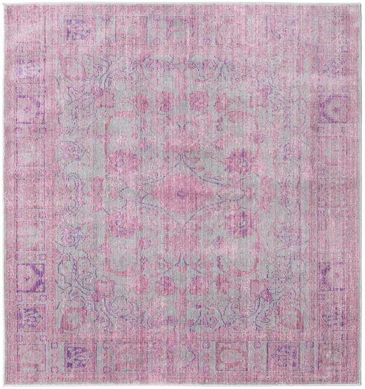 Maharani - Grå/Pink Teppe 200X200 Moderne Kvadratisk Lyserosa/Lys Grå ( Tyrkia)