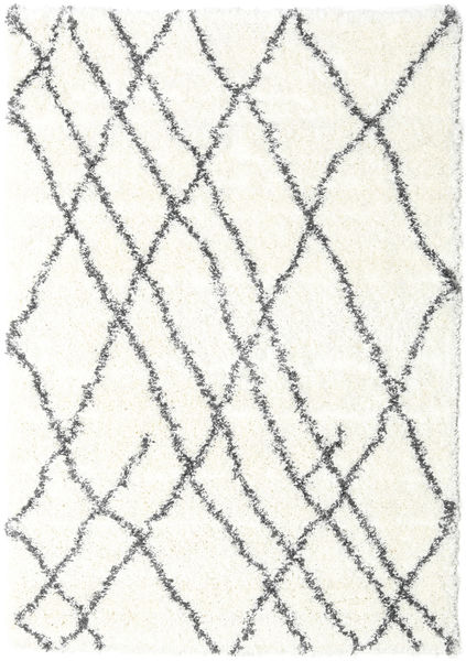 Shaggy Tangier - Vit/Mørk Grå Teppe 160X230 Moderne Beige/Lys Grå ( Tyrkia)