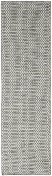 Kelim Honey Comb - Grå Teppe 80X440 Ekte Moderne Håndvevd Teppeløpere Mørk Grå/Lys Grå (Ull, India)