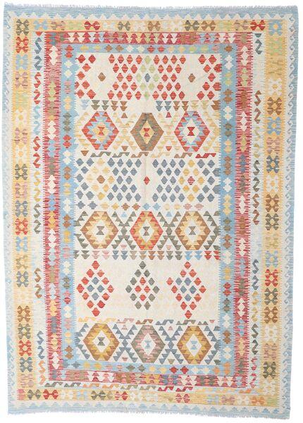 Kelim Afghan Old Style Teppe 208X288 Ekte Orientalsk Håndvevd Lys Grå/Hvit/Creme (Ull, Afghanistan)