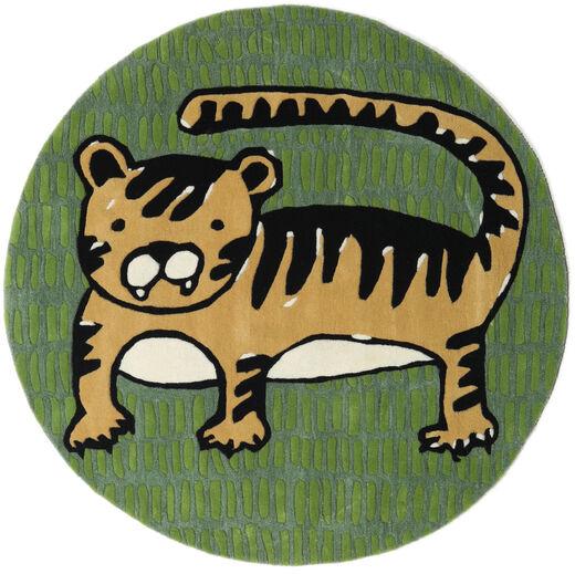 Cool Cat - Gul Teppe Ø 150 Moderne Rundt Mørk Grønn/Olivengrønn (Ull, India)