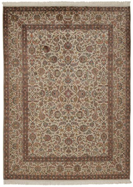 Kashmir Ren Silke Teppe 157X214 Ekte Orientalsk Håndknyttet Brun/Lys Grå/Lysbrun (Silke, India)