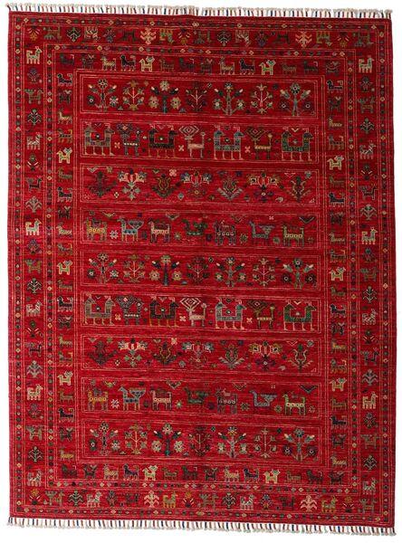 Shabargan Teppe 154X201 Ekte Moderne Håndknyttet Rød/Mørk Rød (Ull, Afghanistan)