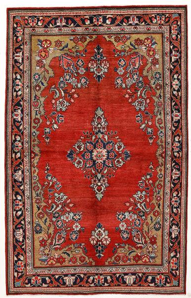 Sarough Teppe 144X230 Ekte Orientalsk Håndknyttet Mørk Rød/Rust (Ull, Persia/Iran)