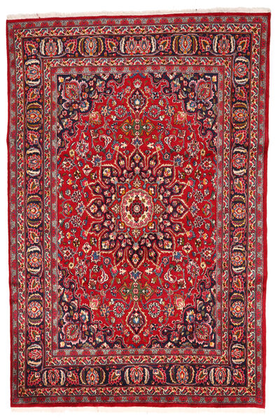 Mashad Teppe 197X280 Ekte Orientalsk Håndknyttet Rød/Mørk Brun (Ull, Persia/Iran)
