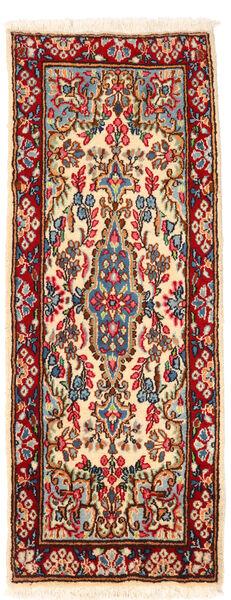 Kerman Teppe 57X145 Ekte Orientalsk Håndknyttet Teppeløpere Mørk Rød/Beige (Ull, Persia/Iran)