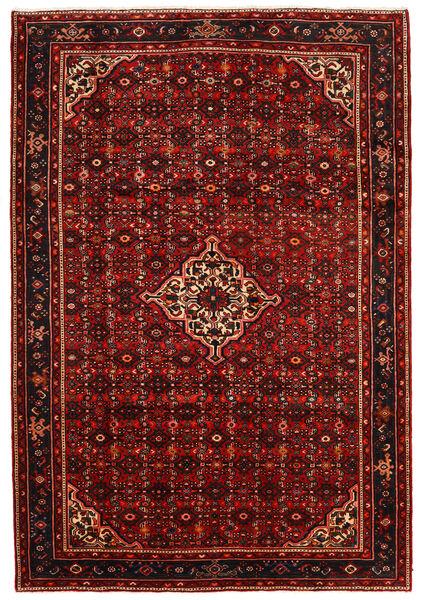 Hosseinabad Teppe 213X310 Ekte Orientalsk Håndknyttet Mørk Rød/Rust (Ull, Persia/Iran)