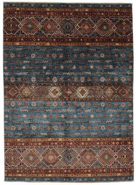 Shabargan Teppe 151X209 Ekte Moderne Håndknyttet Svart/Mørk Brun (Ull, Afghanistan)