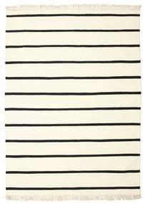 Dorri Stripe - Vit/Svart Teppe 160X230 Ekte Moderne Håndvevd Beige/Hvit/Creme (Ull, India)