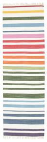 Rainbow Stripe - Vit Teppe 80X250 Ekte Moderne Håndvevd Teppeløpere Beige/Hvit/Creme (Bomull, India)