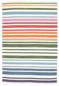Rainbow Stripe - Vit Teppe 160X230 Ekte Moderne Håndvevd Hvit/Creme (Bomull, India)