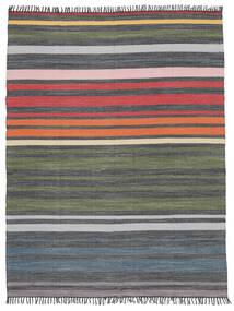 Rainbow Stripe - Grå Teppe 250X300 Ekte Moderne Håndvevd Mørk Grå/Olivengrønn Stort (Bomull, India)