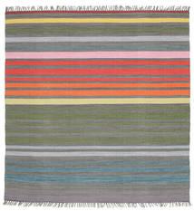 Rainbow Stripe - Grå Teppe 200X200 Ekte Moderne Håndvevd Kvadratisk Mørk Grå/Lys Grå (Bomull, India)