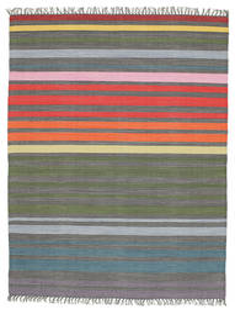 Rainbow Stripe - Grå Teppe 140X200 Ekte Moderne Håndvevd Mørk Grå/Olivengrønn (Bomull, India)