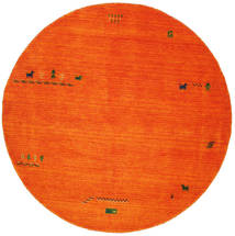 Gabbeh Indisk - Oransje Teppe Ø 200 Moderne Rundt Rød/Rust/Hvit/Creme (Ull, India)
