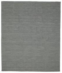 Kelim Loom - Mørk Grå Teppe 250X300 Ekte Moderne Håndvevd Mørk Grønn/Lys Grå Stort (Ull, India)
