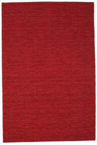 Kelim Loom - Mørk Rød Teppe 200X300 Ekte Moderne Håndvevd Rød (Ull, India)