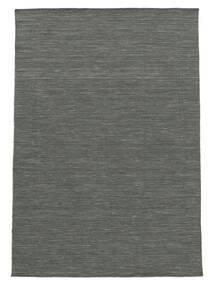 Kelim Loom - Mørk Grå Teppe 140X200 Ekte Moderne Håndvevd Mørk Grønn/Lys Grå (Ull, India)