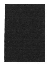 Kelim Loom - Svart Teppe 140X200 Ekte Moderne Håndvevd Mørk Grå (Ull, India)