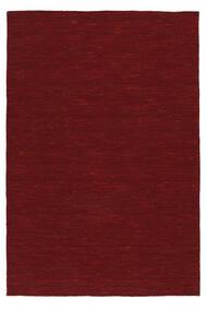Kelim Loom - Mørk Rød Teppe 140X200 Ekte Moderne Håndvevd Rød (Ull, India)