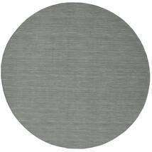 Kelim Loom - Mørk Grå Teppe Ø 300 Ekte Moderne Håndvevd Rundt Lys Grå/Mørk Grønn Stort (Ull, India)