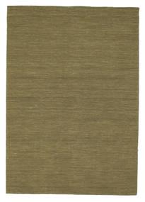Kelim Loom - Oliven Teppe 160X230 Ekte Moderne Håndvevd Olivengrønn (Ull, India)